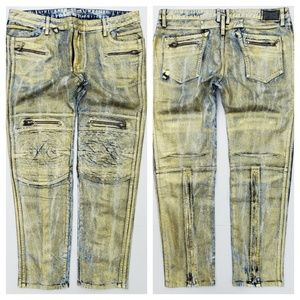 New ROBIN'S JEAN Racer Coated Slim Skinny Jeans